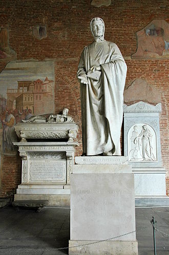 Fibonacci - Monument of Leonardo da Pisa (Fibonacci), by Giovanni Paganucci, completed in 1863, in the Camposanto di Pisa.
