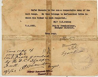 Awan (tribe) - A certificate issued in 1905 by the Deputy Commissioner of Shahpur, C.H. Atkins, to Khan Sahib Qazi Zafar Hussain, the youngest son of Qazi Mian Muhammad Amjad. This document also demonstrates the influence wielded by the Awan tribe in the Punjab, during the era of the British Raj.