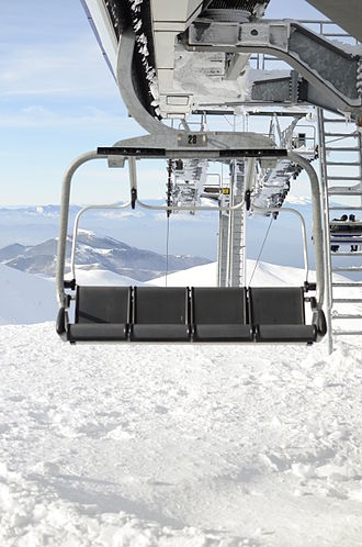 Falakro - Lifts in Ski resort on Mountain Falakro, located in Drama, north Greece. Apart the ski track, the lifts end at a cafe-bar which is at 2111m altitude.