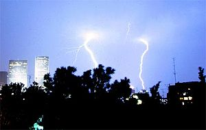 Lightings in Tel Aviv sky
