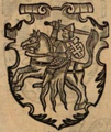 Lithuanian coat of arms Vytis (Pogonia) from Marcin Bielski's book Kronika Polska, 1597 2.png