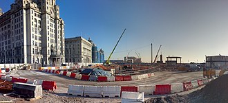Liverpool Canal Link - The new canal link heading south past the Liver Building