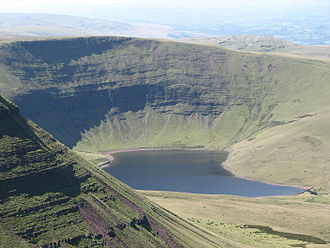 Llanddeusant, Carmarthenshire - The glacial lake of Llyn y Fan Fach featured in the Lady of the Lake story