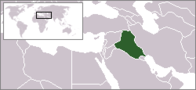 A map showing the location of Iraq