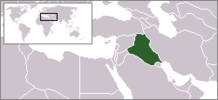 Iraq's location on a map of the Middle East and the world.