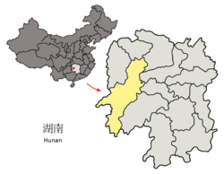 Location of Huaihua City jurisdiction in Hunan