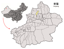 Location of Karamay City jurisdiction in Xinjiang