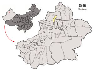 Location of Karamay Prefecture within Xinjiang (China).png