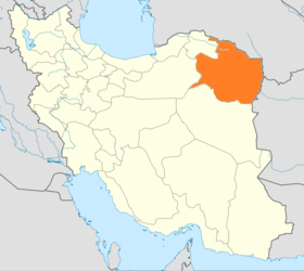 Map of Iran with Razavi Khorasan highlighted