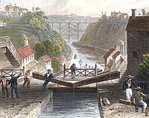 Erie Canal - Operations at Lockport, New York in 1839