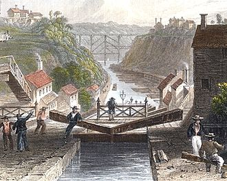 New York (state) - The Erie Canal at Lockport, New York in 1839