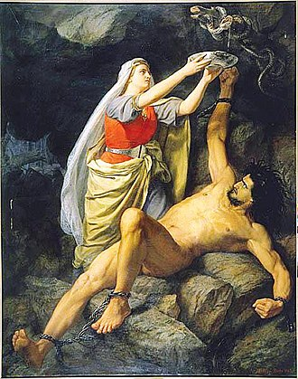 Loki - Loki and Sigyn (1863) by Mårten Eskil Winge