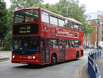 London Buses route 30 - East London Alexander ALX400 bodied Dennis Trident 2 at Euston bus station in June 2008