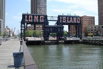 Long Island City - Gantry cranes in Gantry Plaza State Park on the Long Island City waterfront
