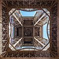 Looking up the center of the Eiffel Tower, 3 October 2017.jpg