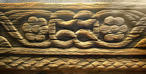 Loulan Kingdom - A carved wooden beam from Loulan, 3rd-4th century. The patterns show influences from ancient western civilizations.