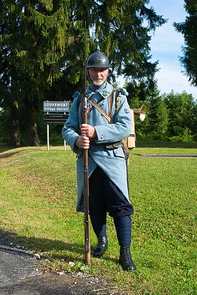 Man with uniforme and equipement of the French Army 59e bataillon de chasseurs à pied (World War I). The photo was taken during a ceremony in august 2012 at Louvemont-Côte-du-Poivre.