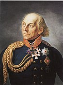 Portrait of an older Ludwig Yorck von Wartenburg in Prussian uniform with decorations