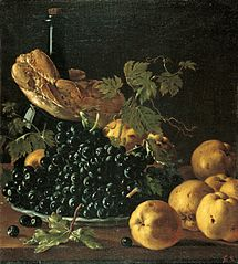 Still Life with Bread, Apples, Grapes and a Bottle