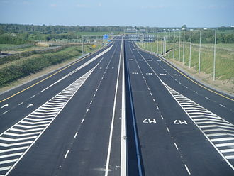 M7 motorway (Ireland) - The M7/M8 interchange at M7 junction 19 just days before the scheme opened to traffic on 28 May 2010.
