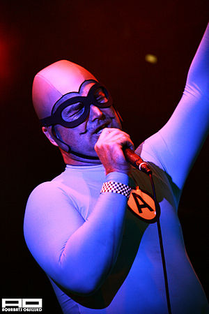 """Christian Jacobs - Jacobs performing with The Aquabats as """"The MC Bat Commander""""."""