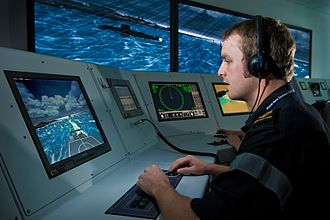 Maritime simulator - The New Zealand Defence Force Marine Engineering Synthetic Training Environment is used to train Navy ship crews in an interactive full simulation setting.
