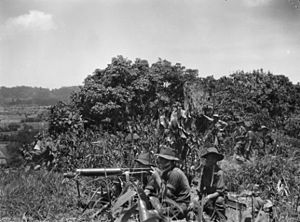 Jungle division - Vickers medium machine-gun supporting D Company, 2/23rd Battalion during the fighting for Tarakan Hill, 2 May 1945.