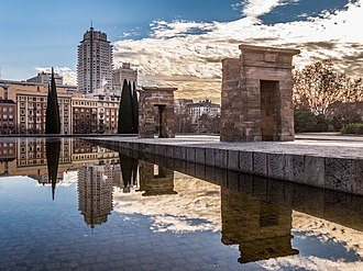 Reflecting pool - Temple of Debod (Madrid, Spain) in the reflecting pool of the garden of the Parque del Oeste.