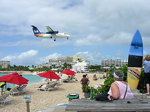 Maho Beach, near Princess Juliana Airport, Caribbean island of Saint Martin-8Feb2008.jpg
