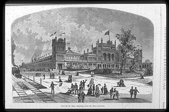 Wilson Brothers & Company - Main Exhibition Building, Centennial Exposition, Philadelphia, PA (1875–76, disassembled and sold 1881). In terms of total area enclosed, 21-1/2 acres, this was the largest building in the world.