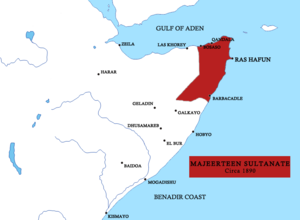 Sultanate of Hobyo - Image: Majeerteen sultanate map