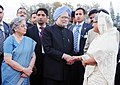 Manmohan Singh being seen off by the Prime Minister of Bangladesh, Mrs. Sheikh Hasina on his departure from Bangladesh to New Delhi, at Hazrat Shahjalal International Airport, in Dhaka.jpg