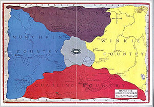 Fictional country - Map of the Land of Oz, the fictional country in the book The Wonderful Wizard of Oz