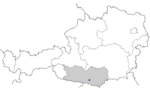 Map of Austria, position of Velden am Wörthersee highlighted