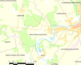 Mapa obce Saint-Denis-les-Ponts