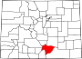 Map of Colorado highlighting Huerfano County.svg