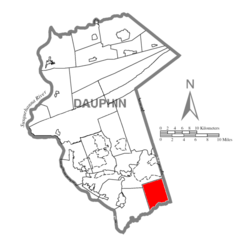 Map of Dauphin County, Pennsylvania Highlighting Conewago Township.PNG