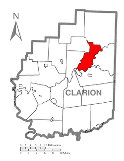 Map of Clarion County, Pennsylvania highlighting Highland Township
