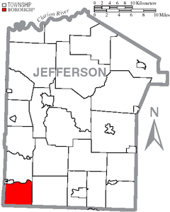 Map of Jefferson County, Pennsylvania Highlighting Porter Township.PNG