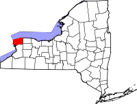 Map of New York highlighting Niagara County