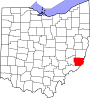 Map of Ohio highlighting Monroe County