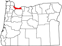 Map of Oregon highlighting Multnomah County