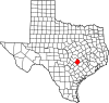 State map highlighting Bastrop County