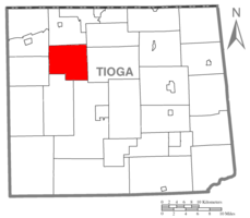 Map of Tioga County Highlighting Chatham Township