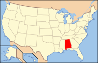 Map of the U.S. highlighting Алабама