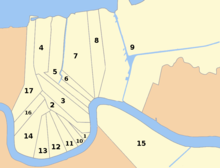 Map showing the 17 wards of New Orleans