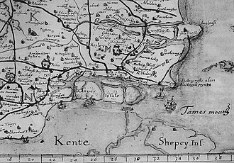 Canvey Island - The Canvey group of islands in the 16th century as shown in the map of south east Essex by the topographer John Norden in 1594.