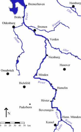 Battle of Hastenbeck - The Weser and the fortresses at Hamelin, Minden, Nienburg and Bremen formed a natural line of defence.
