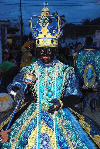 Maracatu - Cross-gendered maracatu cearense blackface queen. Pre-Carnival show in Caucaia, Ceará, February 2009.