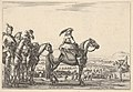 March of an army on a plain, the commander in chief in front, his aides behind him, a trumpeter on horseback at right, a plain with various figures and horses in the background, from 'Varie figure' MET DP833216.jpg